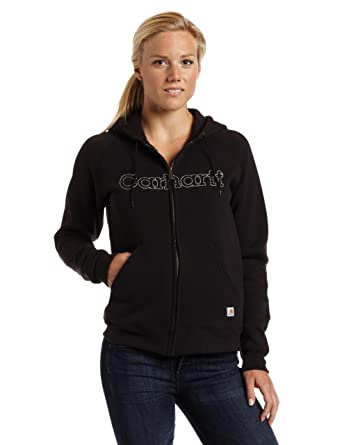2a50fbd81d7cd Carhartt Women's Signature Sweatshirt Midweight Zip Front Embroidered  Hooded at Amazon Women's Clothing store: Athletic Sweatshirts
