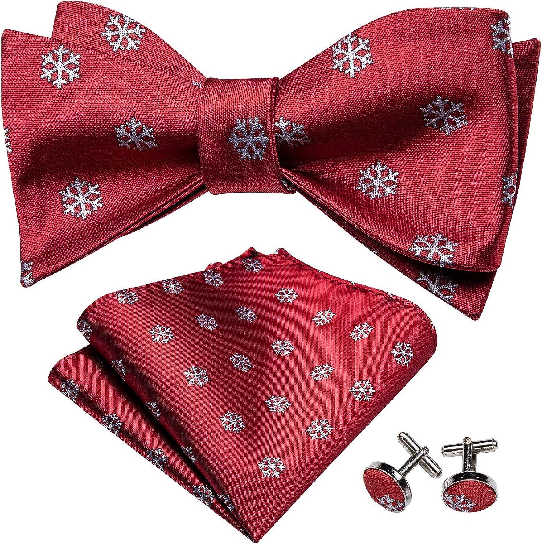 YOHOWA Pretied Bow Tie Pocket Square Cufflinks Set for Men Silk Necktie Set