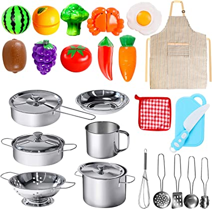 Amazon Com Poputoy 28pcs Pretend Play Kitchen Toys Kitchen Playset Cooking Toys Set With Stainless Steel Cookware And Accessories For Kids Toddlers Girls Boys Toys Games