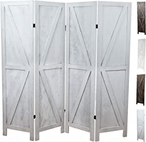 Premium Home Room Divider: Room dividers and Folding Privacy Screens, Privacy Screen, Partition Wall dividers for Rooms, Room Separator, Temporary Wall, Folding Screen, Rustic Barnwood (White)