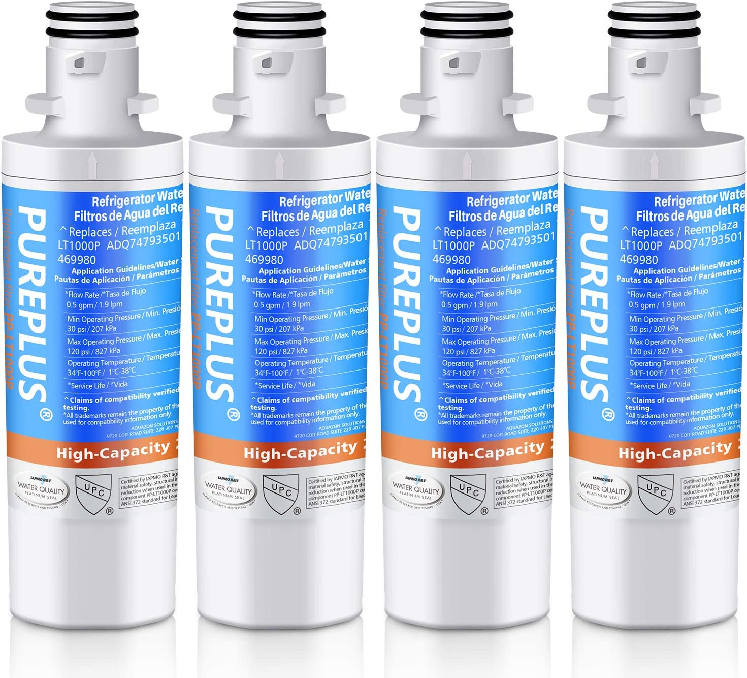 PUREPLUS LT1000P Replacement for LG ADQ747935, Kenmore 9980, LT1000, LT1000PC, MDJ64844601, ADQ74793501, ADQ74793502, LMXS28626S, LMXS30796S, LMXC23796S, LFXS26973S Refrigerator Water Filter, 4Pack