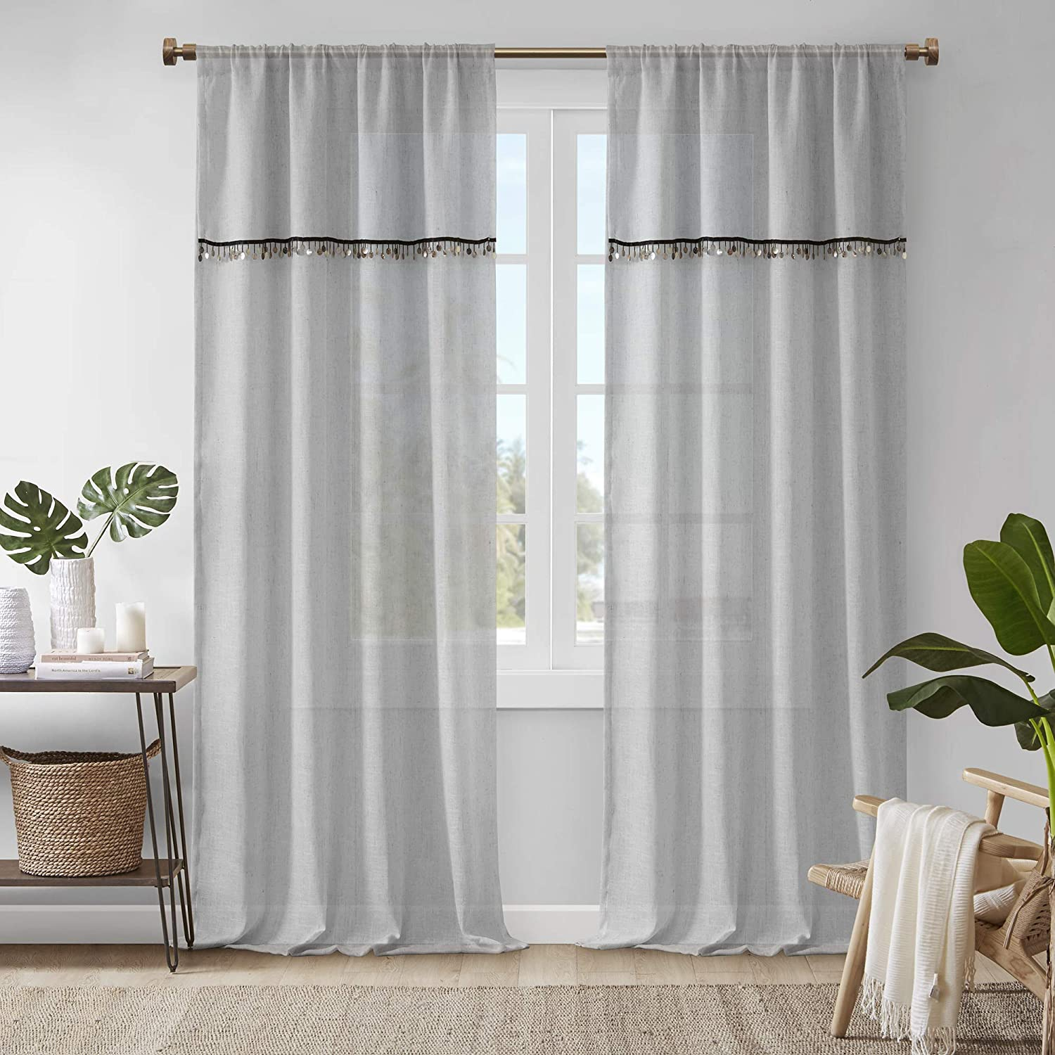 Madison Park Dalis Curtain with Attached Shell Trim Valance Faux Linen Rod Pocket Window Treatment Panel for Living Room, Bedroom and Dorm, 50x84, Grey