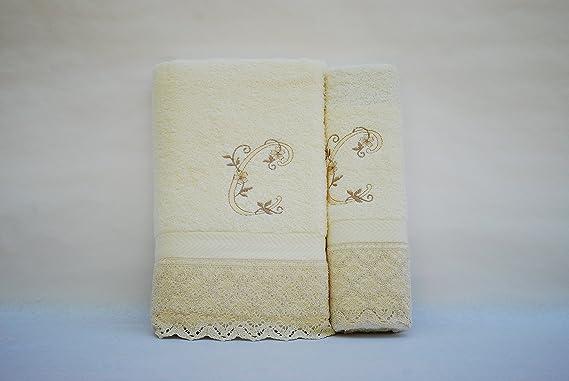 Juego de 3 toallas beije 100x150, 50x100, 50x30 LETRAS INICIALES BORDADAS J fabricado en Portugal. 100/%algod/ón,