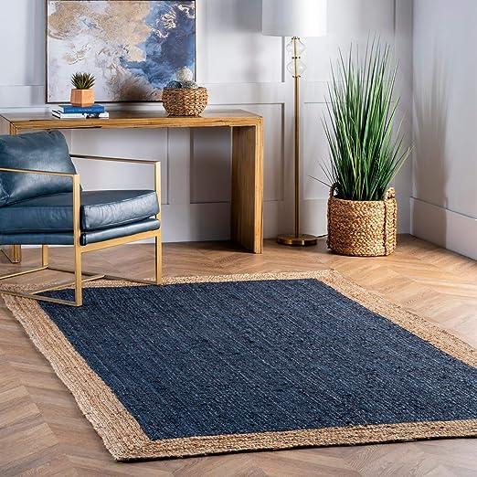 3x5,4x6,5x8 8x10 9x12 Ft Indian Hand Braided Bohemian Blue Color Dye Jute Area Rug Eco Carpet  Diameter Custom size available custom size