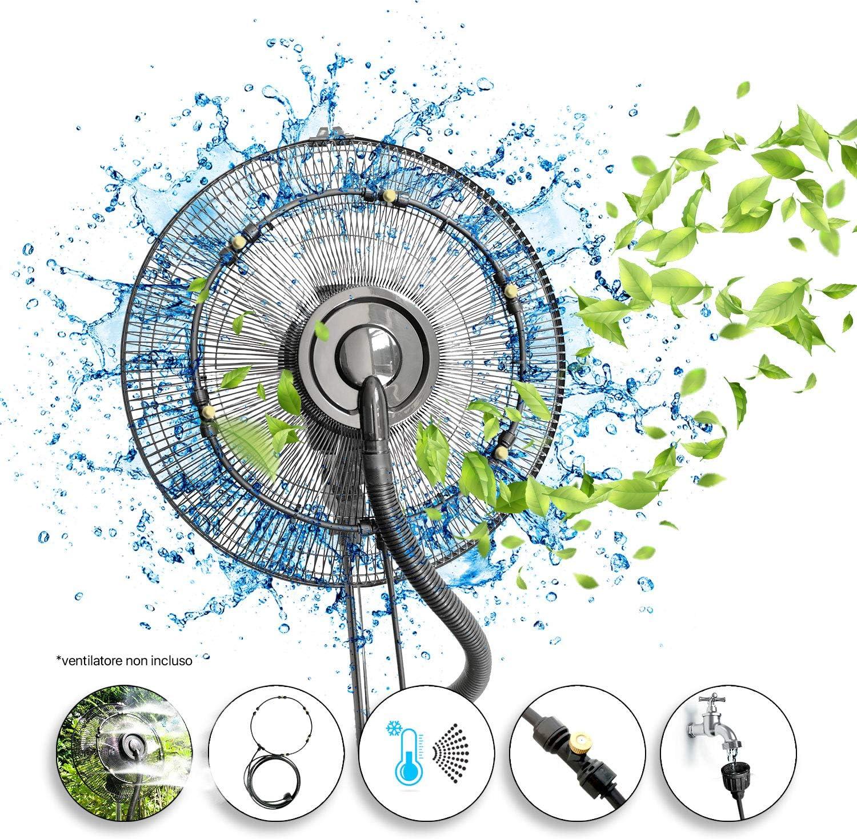 Dardaroga - Kit pulverizador de jardín de exterior para ventilador, 5 boquillas de latón premium, apto para todos los ventiladores, fácil montaje, diámetro del kit: 30 cm