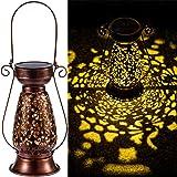 LeiDrail Solar Lantern Outdoor Decorative Hanging Lanterns Metal Light Warm White LED Waterproof Landscape Lighting for…