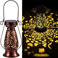 LeiDrail Solar Lantern Thanksgiving Yard Décor Christmas Decorative Hanging Lanterns Metal Light LED Waterproof…
