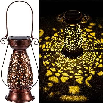 LeiDrail Solar Lantern Outdoor Decorative Hanging Lanterns Metal Light Warm White LED Waterproof Landscape Lighting for Garden Table Pathway