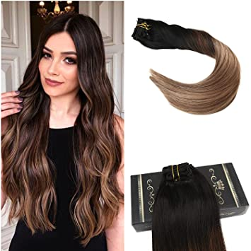 Ugeat 16inch Balayage Clip In Hair Extensions Black Color 1b Fading To Color 4 Mixed With 27 Diy