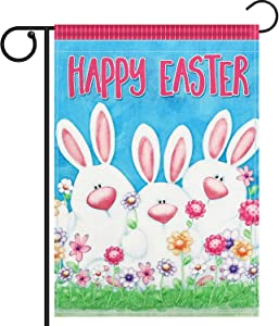 Chengu Happy Easter Bunny Garden Flag Double Sided Bunny Outdoor Garden Flag 12 x 18 Inch (Style 1)