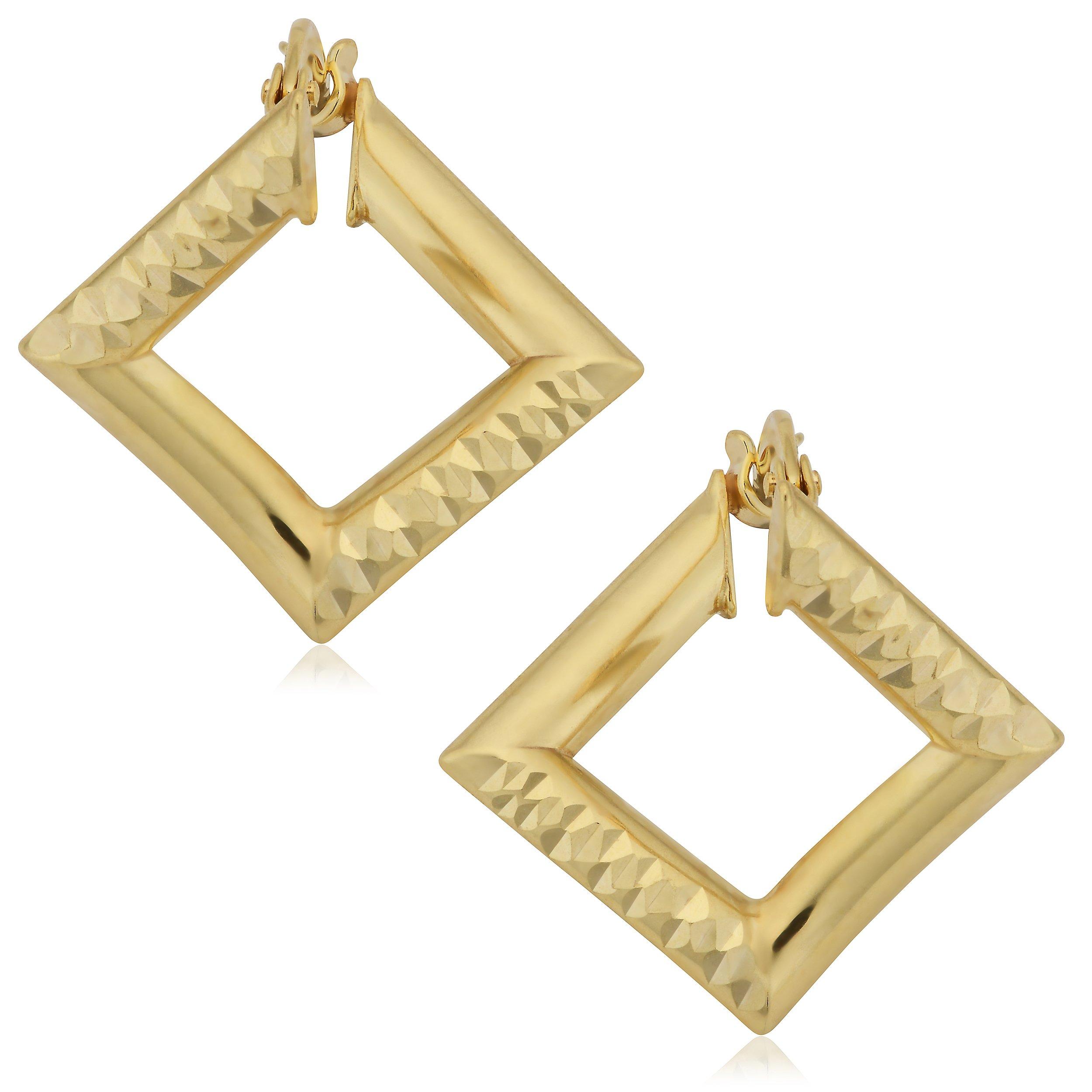 Kooljewelry 14k Yellow Gold Diamond-cut Stylish Square Hoop Earrings by Kooljewelry