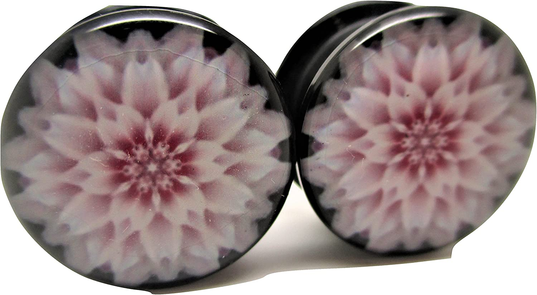 Pierced Republic Pink Flower Ear Plugs - Acrylic - Screw on - NEWPair - 8 Sizes