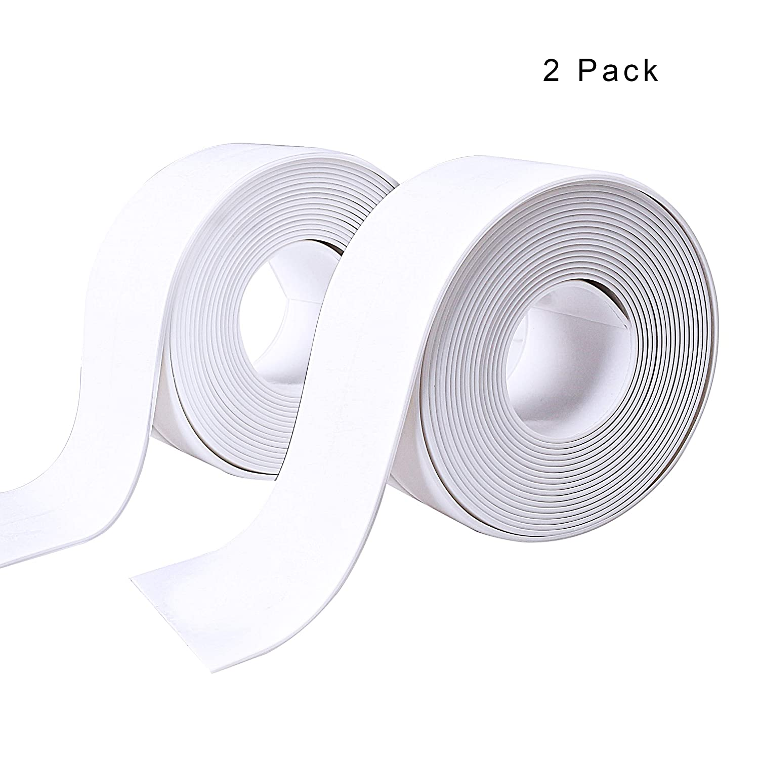 2 Pack Bathtub Sealant Tape, Self Adhesive Sealant Caulk Strip Waterproof Sealing Tape for Bathroom, Kitchen and Toilet 38mm x3.2m x 2 Roll pengxiaomei