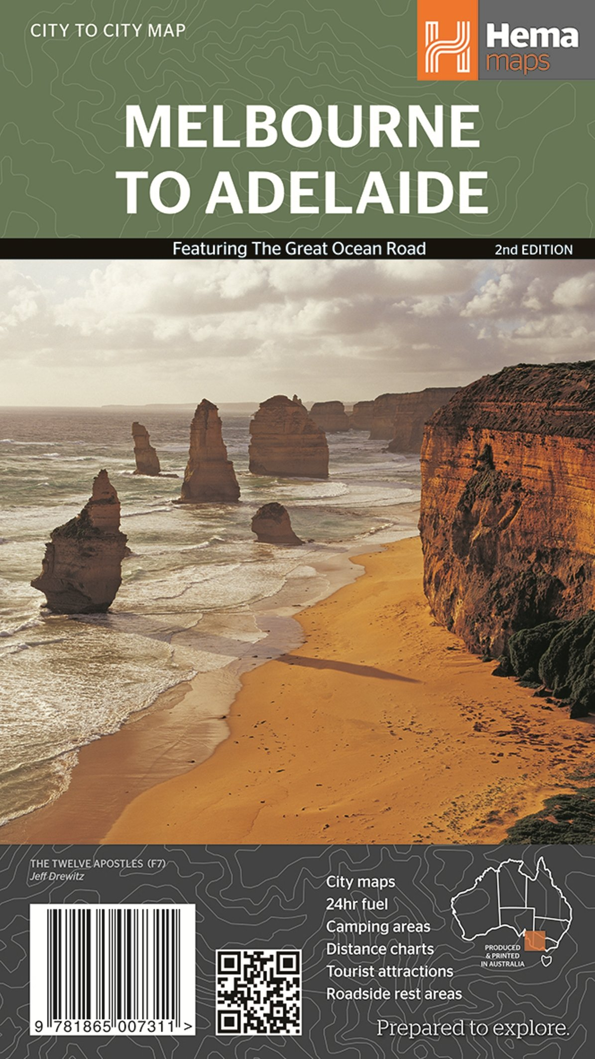 Melbourne to Adelaide 1 : 450 000: featuring the Great Ocean Road / City maps / 24 hour fuel / Camping areas / Distance charts / Tourist attractions / Roadside rest areas