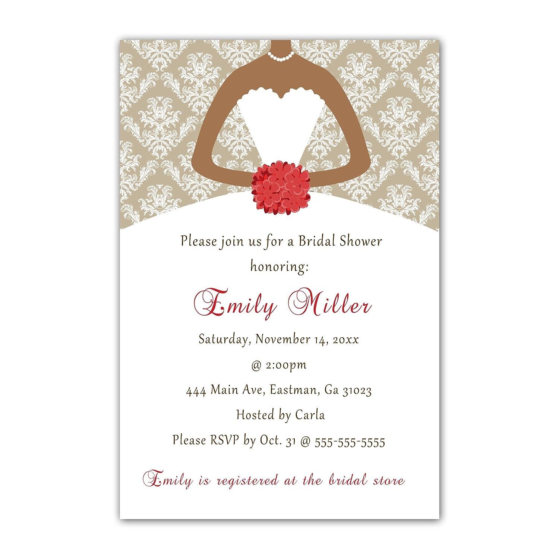 Amazon.com: 30 Invitations Red Vintage Damask Bouquet Bride Design ...