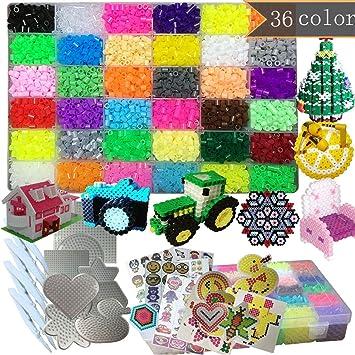 PPEEGOO Lote de 11100 Abalorios Perler,5mm 36 Colors (6 Brillar en Oscuridad) 8 Plantillas 4