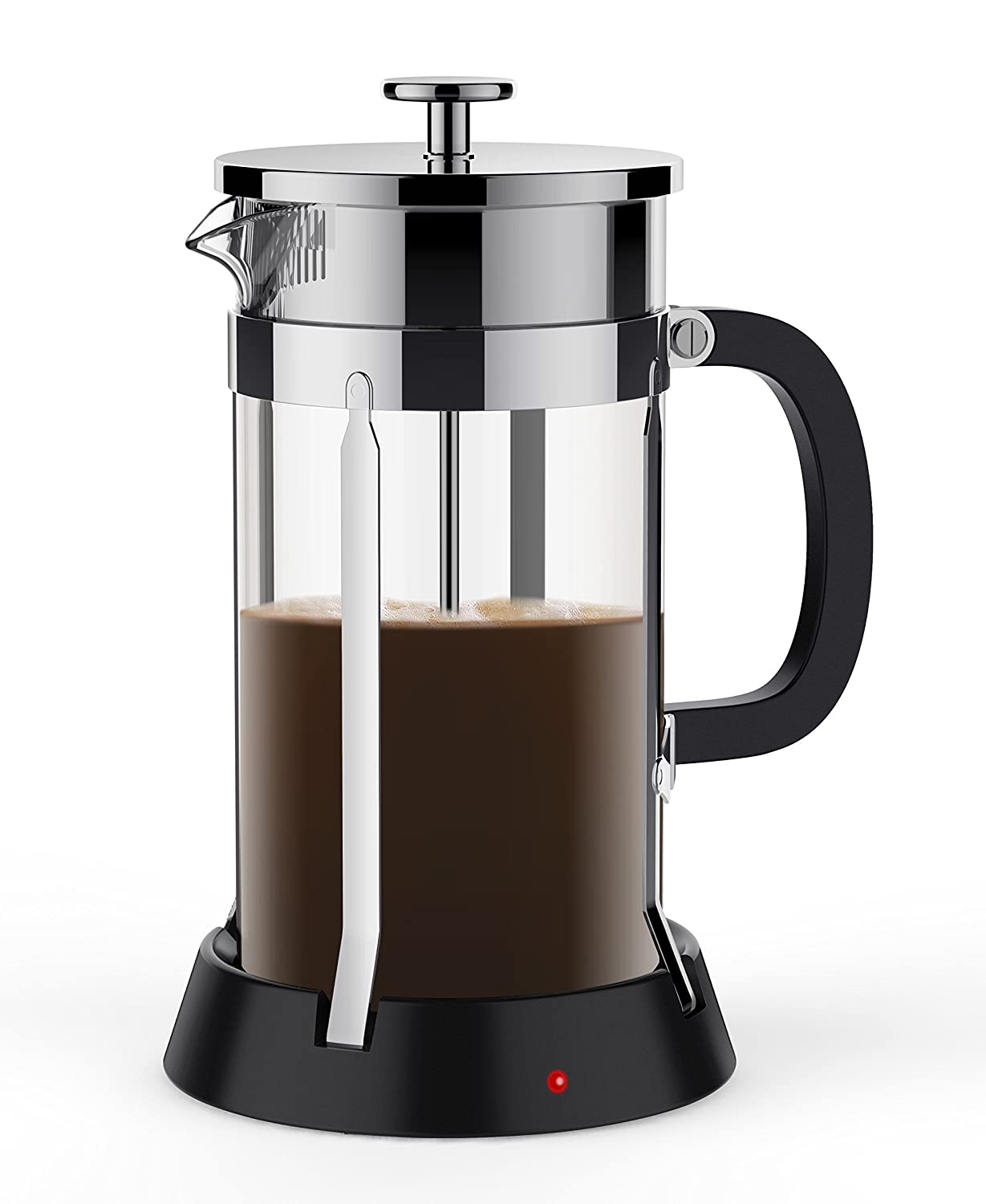 brevo 8 cup french press coffee tea maker with 35w electric warmer sliver pot ebay. Black Bedroom Furniture Sets. Home Design Ideas