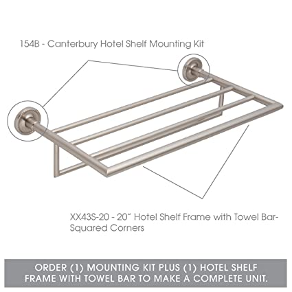 Ginger 20 Hotel Shelf Frame With Towel Bar Squared Corners Xx43s