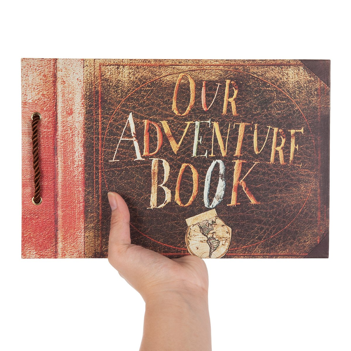 Brown, 80 Pages Woodmin Our Adventure Book DIY Scrapbook Album Wedding Guestbook Anniversary Photo Album