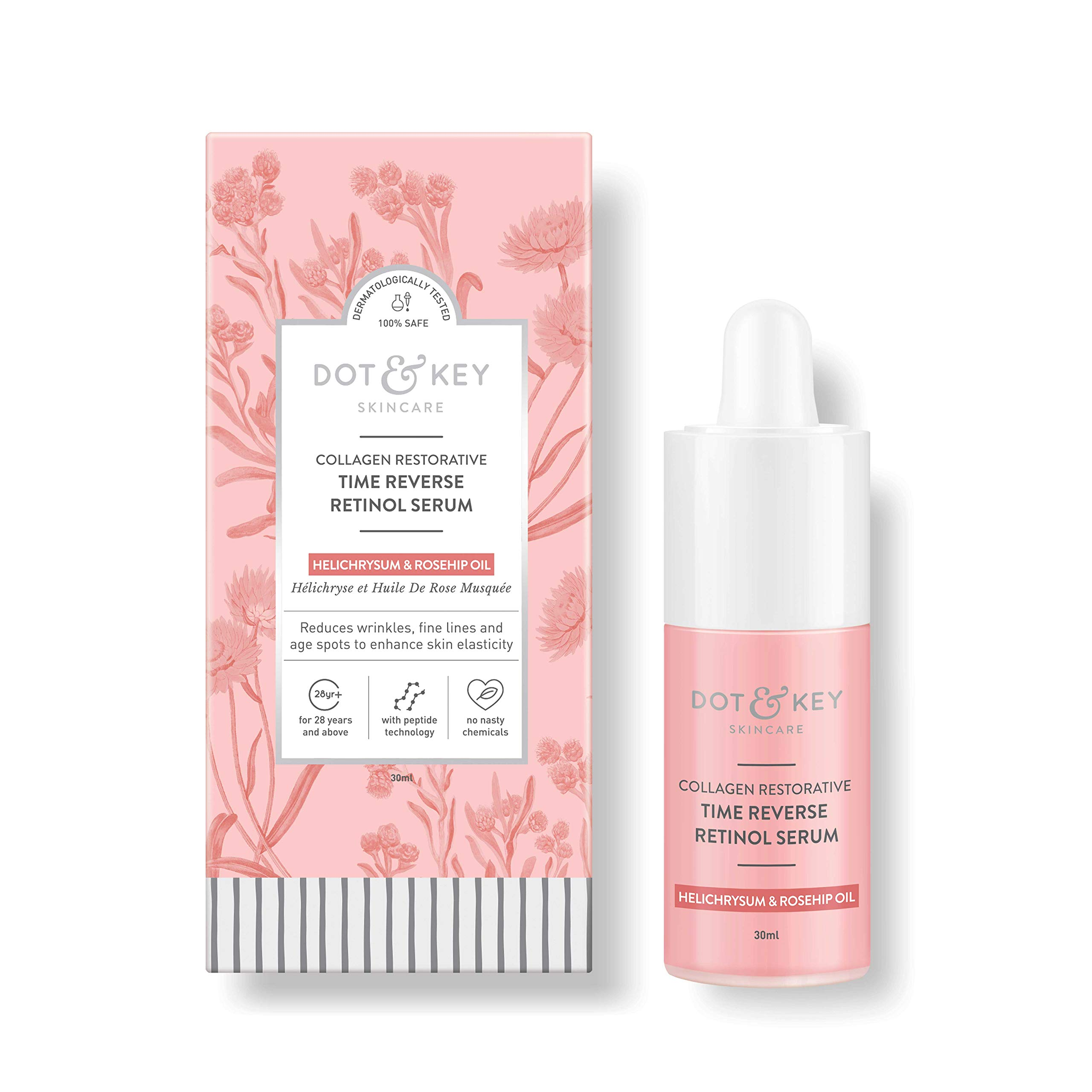 Retinol Serum for Face with Collagen & Peptide Complex, Anti Wrinkle Anti Aging Serum for Face & Skin, 1 fl oz. by Dot & Key
