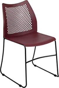 Flash Furniture HERCULES Series 661 lb. Capacity Burgundy Stack Chair with Air-Vent Back and Black Powder Coated Sled Base