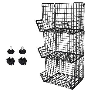 TQVAI Wire 3 Tier Fruit Vegetable Basket Bin Bathroom Towel Rack Kitchen Storage Organizer with Wheels, Black