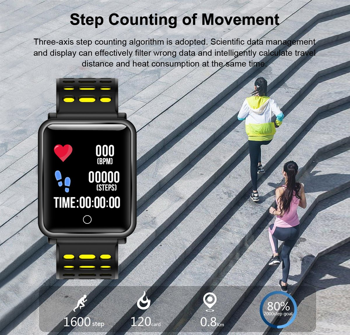 1.3'' TF2 HD Screen Sport Fitness Tracker with Blood Pressure Heart Rate Monitor IP68 Waterproof Pedometer Stopwatch Smartwatch for Kid Men Women Wristband Swim Run Travel Activity Tracker iOS Android by Symfury (Image #6)