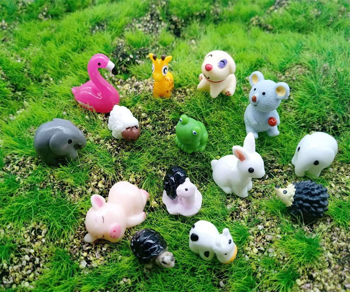 Kbraveo 45Pcs Mini Animals Miniature Ornament Kits Set for DIY,Fairy Garden Dollhouse D/écor Elephants,rabbits,hedgehogs,hens,bunnies,cubs,chicks,bees,cows,frogs,snails,turtles,puppies,pigs,sheep deer,