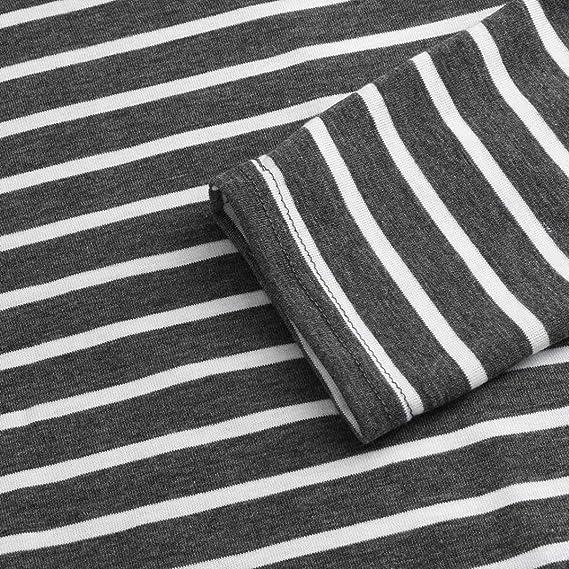 ❤ Tefamore Túnicas Tops de Mujere Irregular Rayado Impreso Blusas O-Cuello Manga Larga T-Shirt Moda Camisetas tee: Amazon.es: Ropa y accesorios