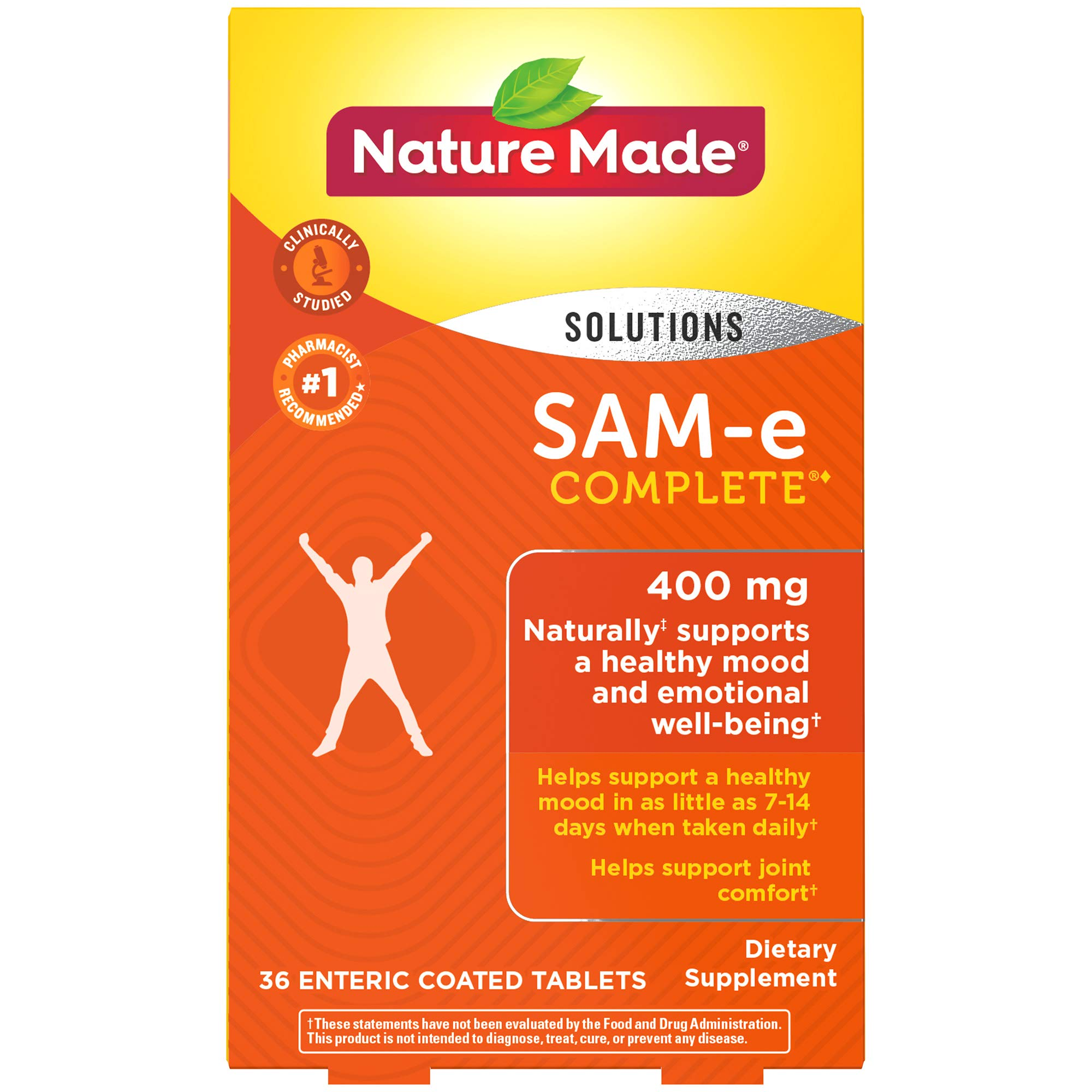Nature Made SAM-e Complete 400 mg Tablets, 36 Count, Supports a Healthy Mood† (Packaging May Vary) by Nature Made