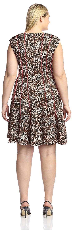 Chetta B Plus Women's Scuba Piped Animal Dress