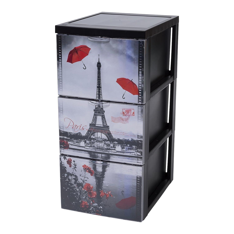 Iris Ohyama 135701SCF-303Torre de almacenaje de 3cajones Estilo cómoda, Sobre Ruedas, de plástico, 39x 29x 61,5cm, plástico, Negro, 39x29x61.5 cm 135707