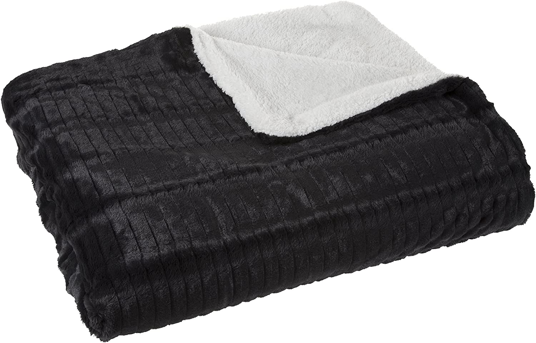 Bedford Home Fleece and Sherpa Blanket - Twin - Smoky Black