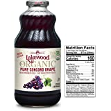 Lakewood Organic PURE Concord Grape Juice, 32 Fl Oz, Pack of 6