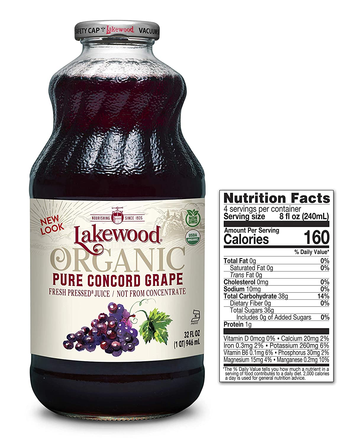 Lakewood Organic PURE Concord Grape Juice, 32-Ounce Bottles (Pack of 6)