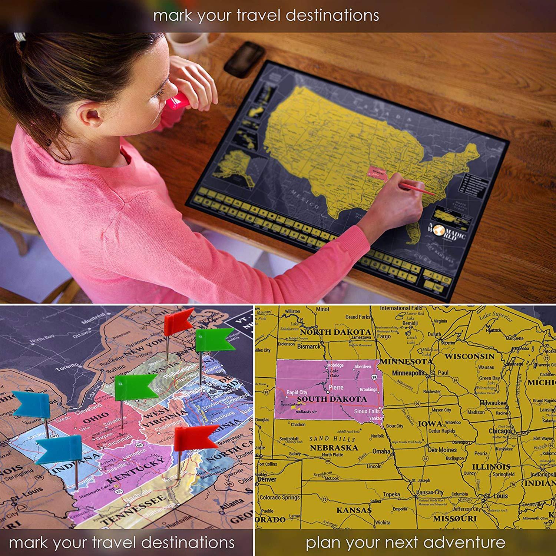 Multi World Map Tool Haice Set di Strumenti fai da te a 15 Pezzi,Carte Adesivi con Pennarelli Premium Novit/à Novit/à per la Mappa del Mondo per Grattare Mappa del Mondo Strumento