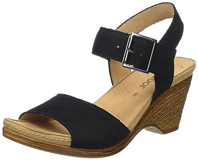 Offene Sandalen 38 07 Schwarz Gabor Damen Shoes Keilabsatz Mit AtwREq