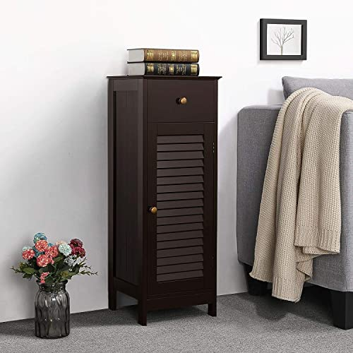 Topeakmart Bathroom Floor Storage Cabinet Wooden Side Organizer Unit with Drawer and Shelf and Shutter Door for Living Room Espresso