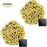 Vmanoo 2 Pack Solar String Lights 72 Feet 22 Meter 200 LED 8 Modes Christmas Fairy Lighting For Outdoor Indoor Garden Patio Lawn Party Decoration Waterproof ( Warm White)