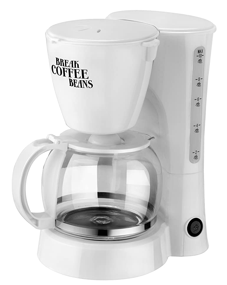 TEAM 10-Cup Capacity Filter Coffee Maker, 1.25 Litre, 800 W, White ...