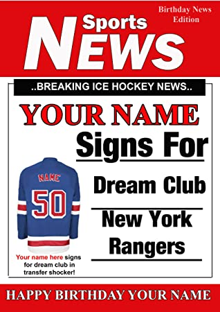 A5 Personalised New York Rangers Ice Hockey Birthday Card Any Name And Age