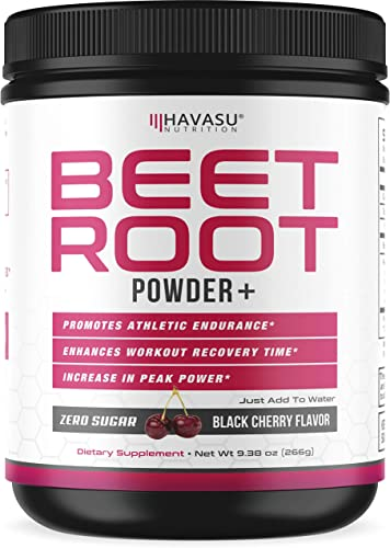 Havasu Nutrition Beet Root Powder with Patented, Organic PeakO2 Mushroom Blend- Supports Workout Recovery Promotes Athletic Endurance, No Sugar, Black Cherry Flavor, Net WT 266g 9.38 oz