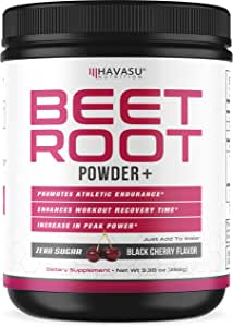 Havasu Nutrition Beet Root Powder with Patented, Organic PeakO2 & Mushroom Blend- Supports Workout Recovery & Promotes Athletic Endurance, No Sugar, Black Cherry Flavor, Net Weight 266g (9.38 oz)