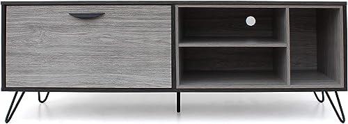 Christopher Knight Home Dorrin Mid-Century Modern Faux Wood TV Stand, Sonoma Grey Oak Grey Oak Black