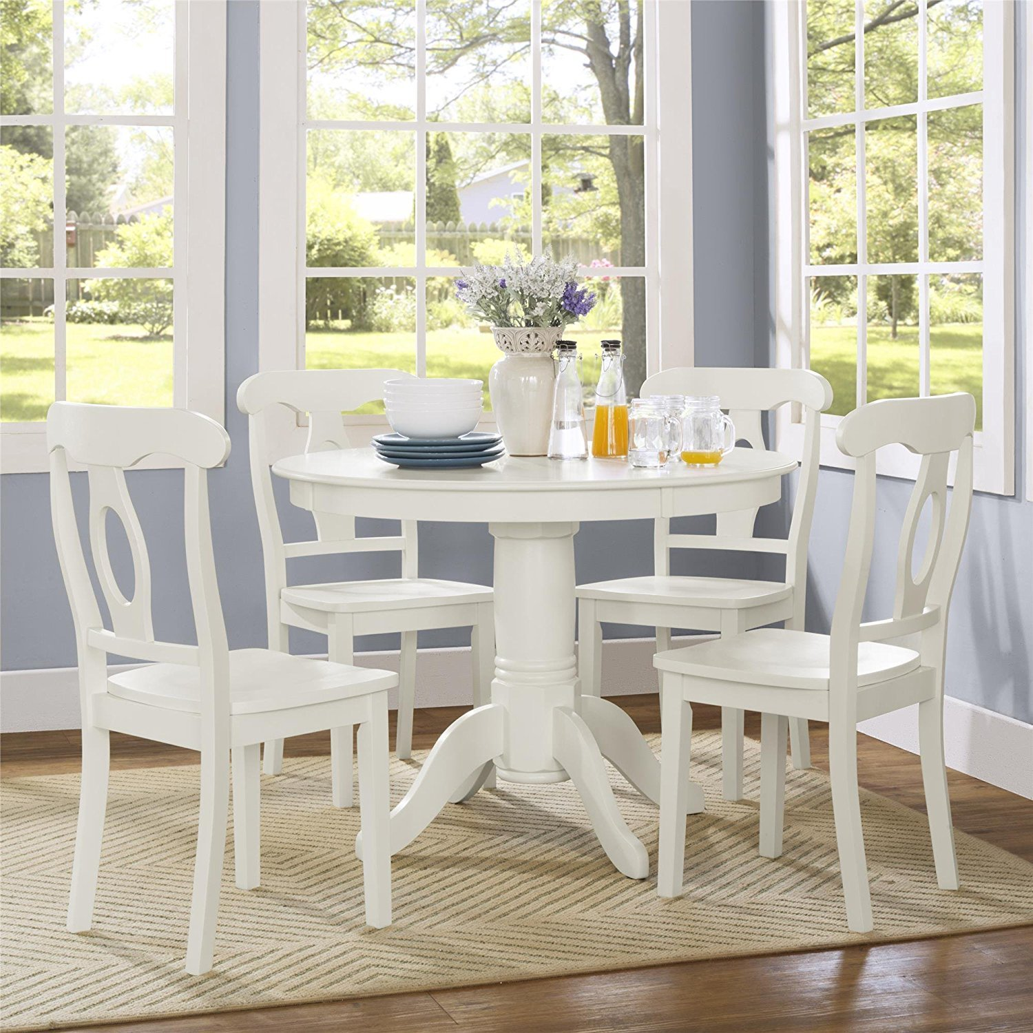 Aubrey 5 piece Traditional Height Pedestal Dining Set, White by Dorel Living (Image #2)