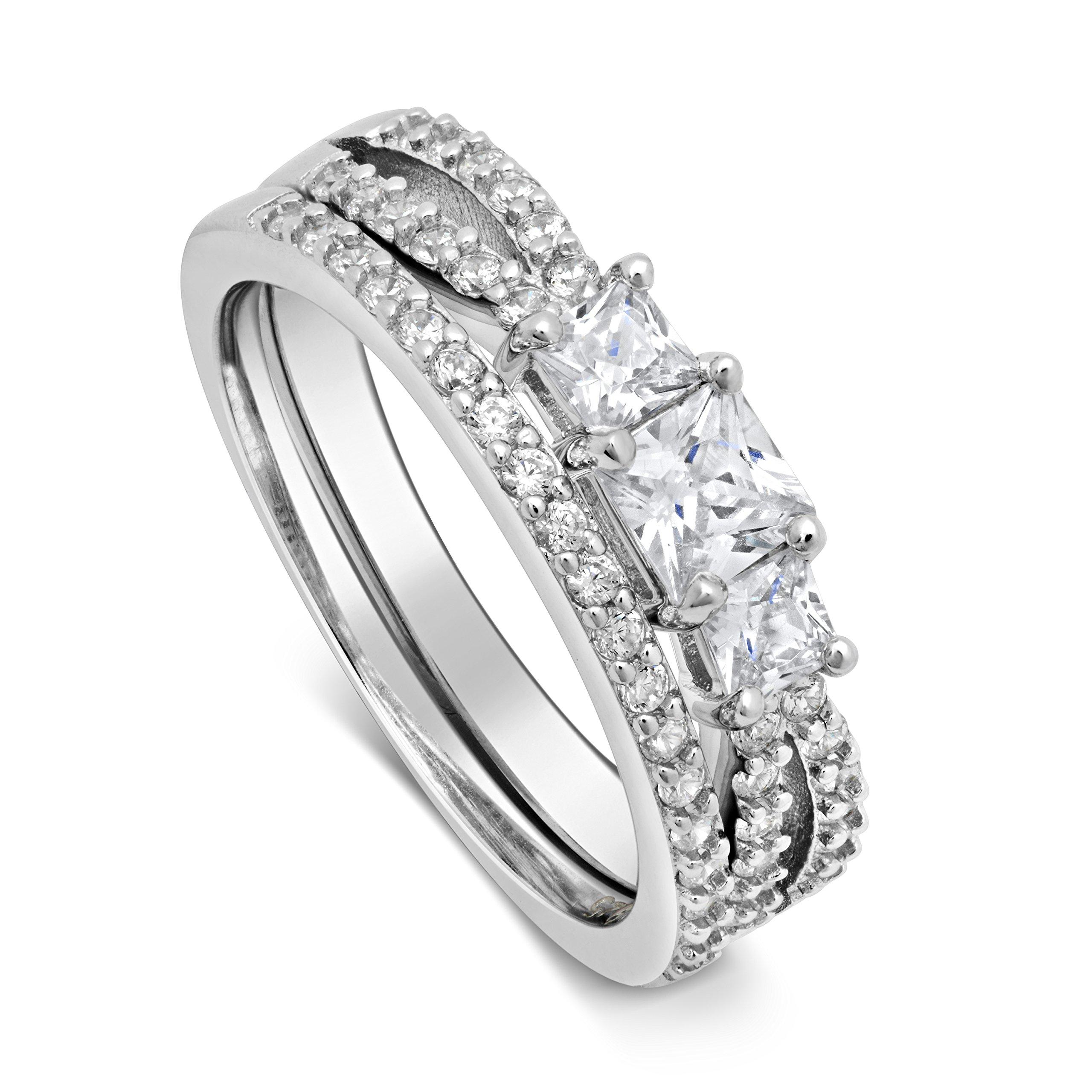 DTLA Sterling Silver ''Past Present Future'' Princess Cut Three Stone CZ Engagement Ring & Wedding Band Set (9)