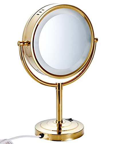 Cavoli 8.5 inch LED Makeup Mirror with 7x Magnification,Extendable Bathroom Mirror,Tabletop Two-sided,Gold Finish 8.5in,7x