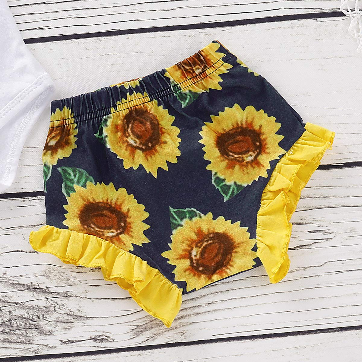 i-Auto Time Newborn Baby Girl Clothes Sunflower Romper+Floral Short Pants Outfits Set