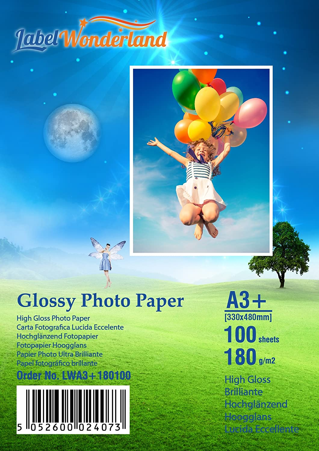 100 Sheets 180gsm Premium Quality High Gloss Photo Paper by LabelWonderland A4