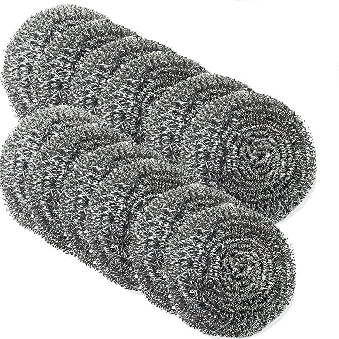Amazon.com: Stainless Steel Scourer-kitchen Stainless Steel Sponge Scrubbers for Our Kitchen Pots and Pans Cleaning 40g (6): Garden & Outdoor